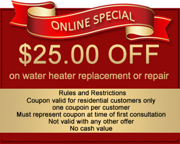 25 off on water heater repair or replacement